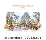 watercolor sketch with splash... | Shutterstock .eps vector #730536871