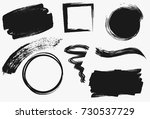 set of black paint  ink brush... | Shutterstock .eps vector #730537729