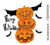 happy halloween bat pumpkin | Shutterstock .eps vector #730540534