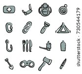 survival kit icons  | Shutterstock .eps vector #730544179