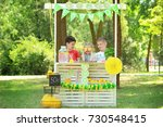 adorable children selling... | Shutterstock . vector #730548415