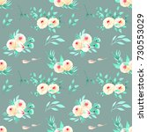 seamless floral pattern with... | Shutterstock . vector #730553029
