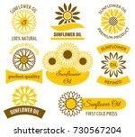 sunflower oil logo set. vector... | Shutterstock .eps vector #730567204