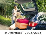 family travel with suitcases... | Shutterstock . vector #730572385