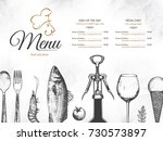 restaurant menu design. vector... | Shutterstock .eps vector #730573897