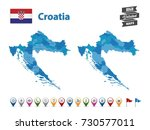 croatia high detailed map with... | Shutterstock .eps vector #730577011