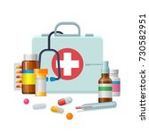 first aid kit medicine cartoon... | Shutterstock .eps vector #730582951