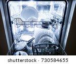 interior of dishwasher machine...   Shutterstock . vector #730584655