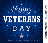 veterans day greeting card with ... | Shutterstock .eps vector #730584991
