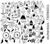 big set of christmas doodles.... | Shutterstock .eps vector #730586011