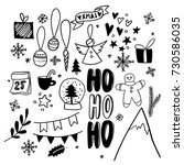 christmas doodles. hand drawn... | Shutterstock .eps vector #730586035