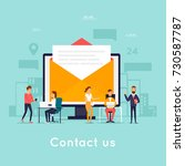 contact us. business people.... | Shutterstock .eps vector #730587787
