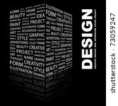 design. word collage on black...