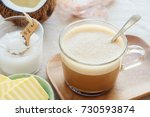 bulletproof coffee  blended... | Shutterstock . vector #730593874