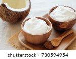 organic coconut yogurt in... | Shutterstock . vector #730594954