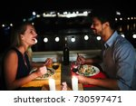 young beautiful couple having... | Shutterstock . vector #730597471