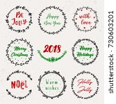 christmas hand drawn wreath set.... | Shutterstock .eps vector #730603201