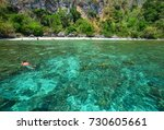 people swimming on sea in coron ... | Shutterstock . vector #730605661