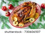 traditional christmas chicken ... | Shutterstock . vector #730606507