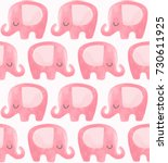 cute elephant pattern. seamless ... | Shutterstock .eps vector #730611925