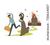 stateless refugee family... | Shutterstock .eps vector #730614007