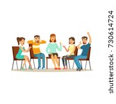 support group therapy ... | Shutterstock .eps vector #730614724