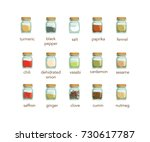 isolated seasonings and spices... | Shutterstock .eps vector #730617787