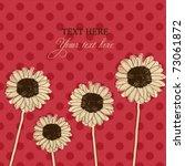 Retro Card With Gerbera Daisy...