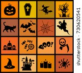 halloween icon set vector | Shutterstock .eps vector #730620541