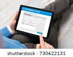man applying for retirement plan | Shutterstock . vector #730622131