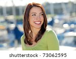 young woman at the boat harbor | Shutterstock . vector #73062595