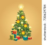 christmas tree with lights  ... | Shutterstock .eps vector #730629784