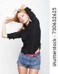 fashion girl model posing on... | Shutterstock . vector #730632625