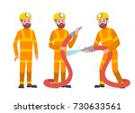 professional people firefighter  | Shutterstock .eps vector #730633561