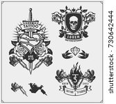 vector set of tattoo salon... | Shutterstock .eps vector #730642444