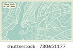 New York Usa Map In Retro Styl...