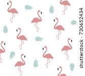 flamingo pattern background.... | Shutterstock .eps vector #730652434