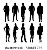 Business people, group of business men and women. Set of vector silhouettes. Standing coworkers | Shutterstock vector #730655779