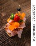 tapas on crusty bread  ... | Shutterstock . vector #730657207