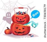 two evil pumpkins. halloween.... | Shutterstock .eps vector #730658179