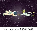 sketch of astronaut and alien.... | Shutterstock .eps vector #730662481