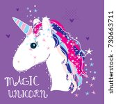 magic unicorn vector... | Shutterstock .eps vector #730663711