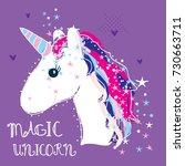 magic unicorn vector... | Shutterstock .eps vector #730663711