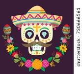 """dia de los muertos""  day of... | Shutterstock .eps vector #730666561"