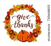 give thanks calligraphy and... | Shutterstock .eps vector #730668835