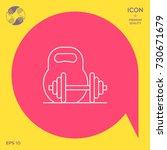 kettlebell and barbell line icon | Shutterstock .eps vector #730671679