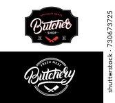 set of butcher shop and... | Shutterstock .eps vector #730673725