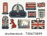 vector set of british symbols ... | Shutterstock .eps vector #730673899