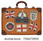 vector image of travel suitcase ... | Shutterstock .eps vector #730673905