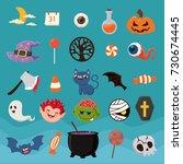 vintage halloween poster design ... | Shutterstock .eps vector #730674445